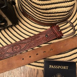 Accessories - Beautiful Embossed Leather Vintage Festival Belt